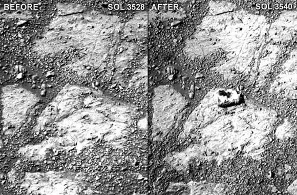MarsOpportunityRover-MysteryRock-Sol3528-Sol3540