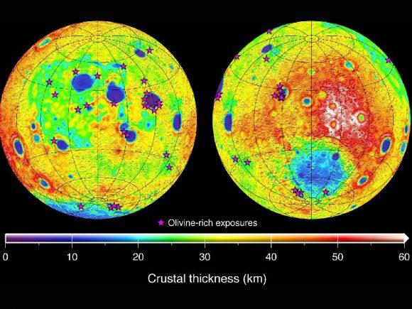 """Es Realmente la """"Luna"""" un Satélite Natural? Figure-2-moon-crustal-thickness-and-olivine-exposures-580x435"""