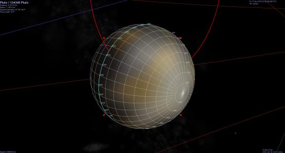 Orientación de Plutón en las imágenes (JohnVV/unmannedspaceflight.com).