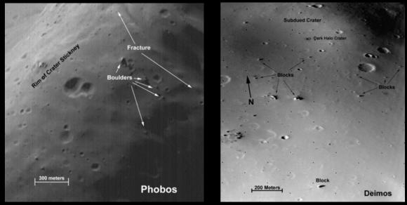 Rocas en la superficie de Fobos y Deimos (NASA).