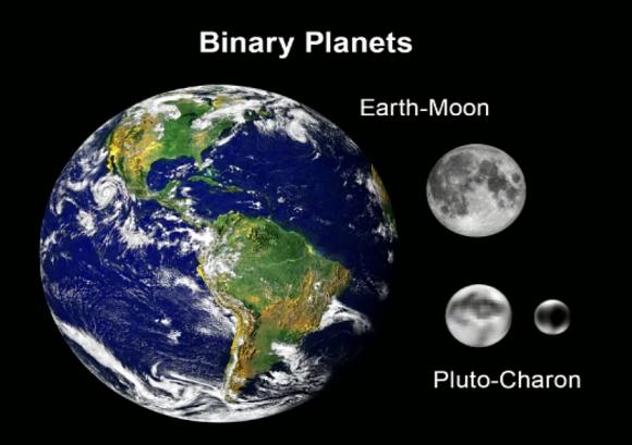 Comparando la Tierra y la Luna con Plutón y Caronte (NASA).