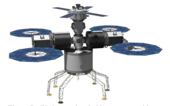Hábitat para la superficie de Fobos con un espacio presurizado, dos módulos de servicio y una nave Orión (NASA).