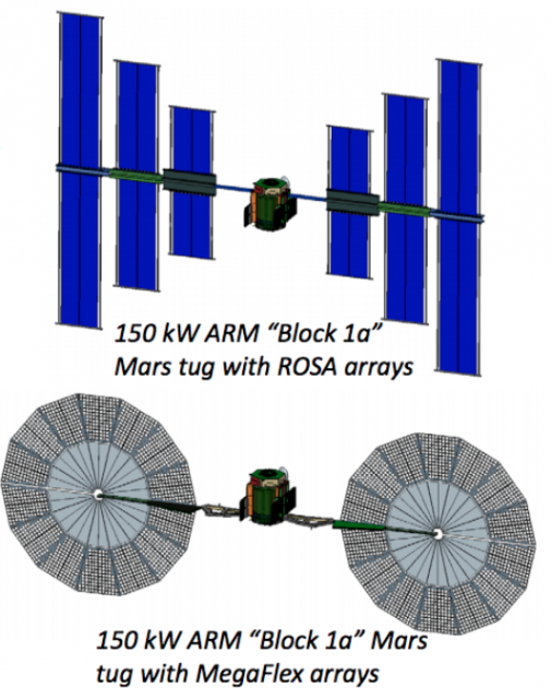 Posibles diseños para las etapas SEP (NASA).