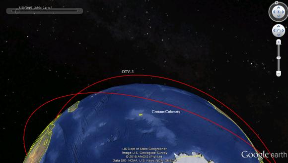 La maniobra de la etapa Centaur durante el lanzamiento del OTV-4 (Google Earth).