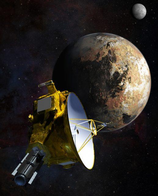 La sonda New Horizons pasando por Plutón y Caronte (NASA).