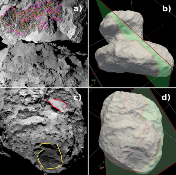 Fracturas en el lóbulo pequeño. a) y c) son imágenes reales de OSIRIS. Se aprecia la nutrida red de fallas y fracturas de los acantilados Hathor (