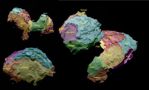 Regiones del cometa 67P (ESA).