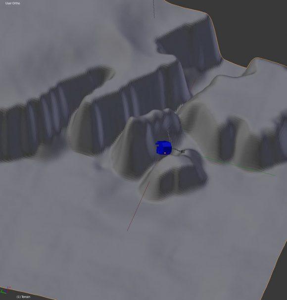 Reconstrucción de la situación final de Philae en el cometa (ESA).