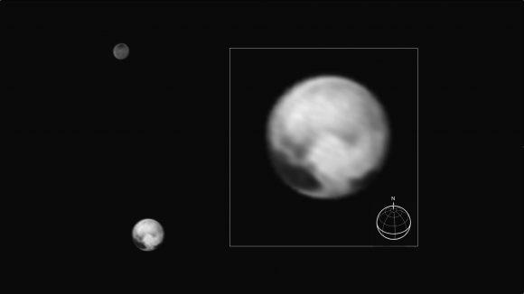 Plutón y Caronte vistas por la cámara LORRI el 1 de julio (NASA/Johns Hopkins University Applied Physics Laboratory/Southwest Research Institute).