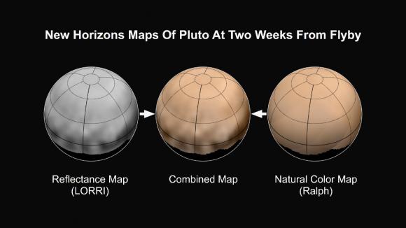 Proceso de coloreado de las imágenes LORRI con los datos del instrumento Ralph (NASA/Johns Hopkins University Applied Physics Laboratory/Southwest Research Institute).