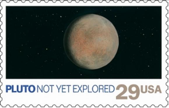 El sello de 1991 que muestra un Plutón inexplorado (NASA).