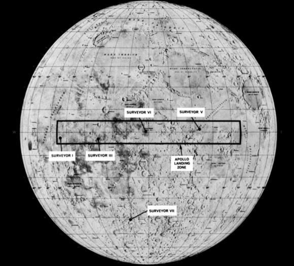 Rectángulo que delimitaba el lugar de las primeras misiones Apolo (NASA).