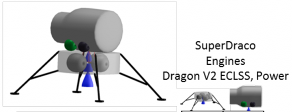 Concepto de módulo lunar para dos astronautas dotado de motores Super Draco (NASA).