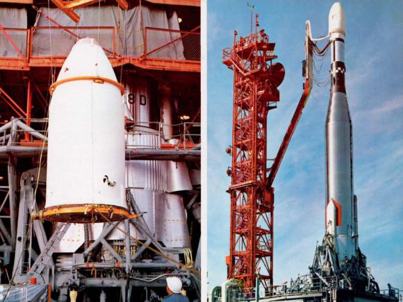 Integración de la Mariner 4 con su lanzador Atlas-Agena (NASA/JPL).