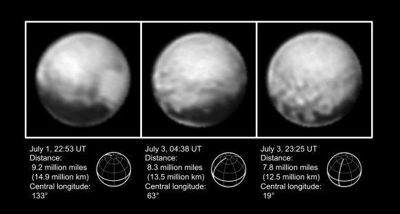 Plutón visto por la cámara LORRI entre el 1 y el 3 de julio (NASA/JHUAPL/SWRI).