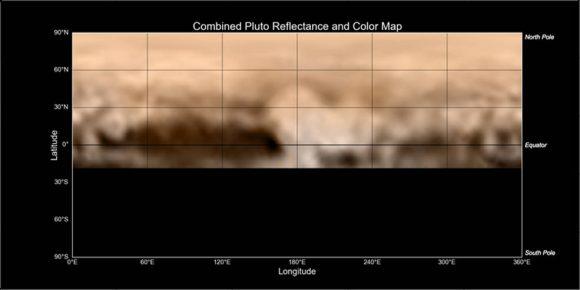 Mapa de Plutón obtenido a partir de imágenes de la cámara LORRI de la New Horizons del 3 de julio (NASA/Johns Hopkins University Applied Physics Laboratory/Southwest Research Institute).