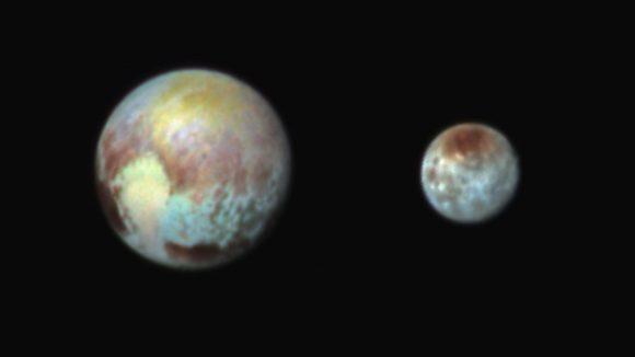 Plutón y Caronte en color por la cámara MVIC el 13 de julio (NASA/APL-JHU/SwRI).