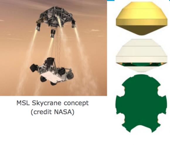 MarsFAST emplearía el sistema Skycrane de Curiosity, pero pondría en la superficie una plataforma estática (ESA).