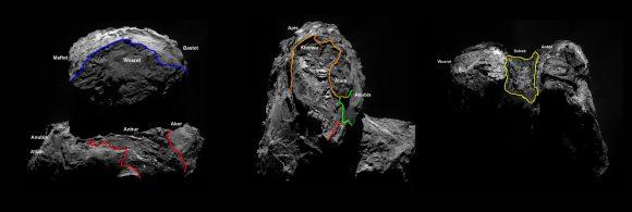 Nuevas regiones identificadas en el hemisferio sur de Chury (ESA/Rosetta/MPS for OSIRIS Team MPS/UPD/LAM/IAA/SSO/INTA/UPM/DASP/IDA).
