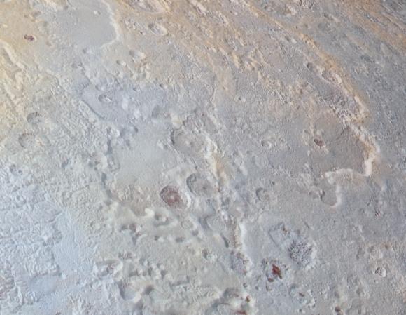 Detalle del mosaico en la región del polo norte. Plutón también tiene azules, aunque sutiles ().