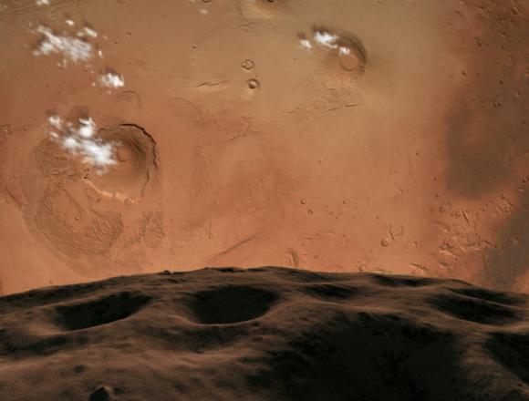 El Olympus Mons visto desde Fobos (The Planetary Society).