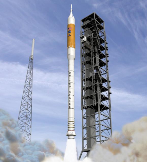 El Ares I según el diseño de 2009 (NASA).