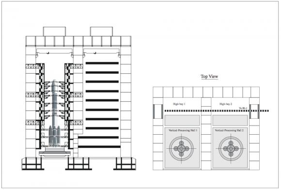 Interior del edificio de ensamblaje vertical (CALT).