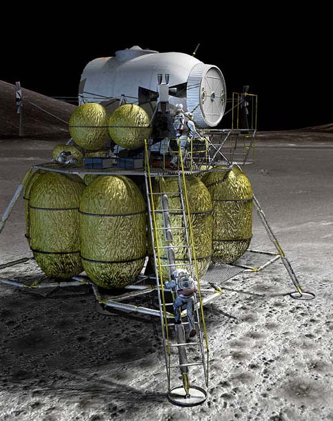 Configuración inicial del módulo lunar LSAM/Altair (NASA).