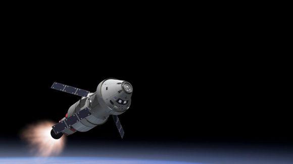 La nave Orión en la misión EM-1 abandonando la órbita terrestre (NASA).
