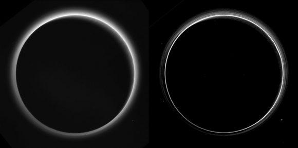 Dos vistas de la atmósfera de Plutón a 770 000 km de distancia vista con un ángulo de 166º.