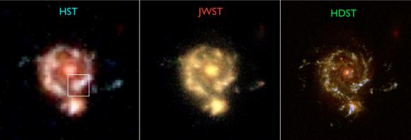Diferencias en resolución del HST, JWST y HDST (AURA).