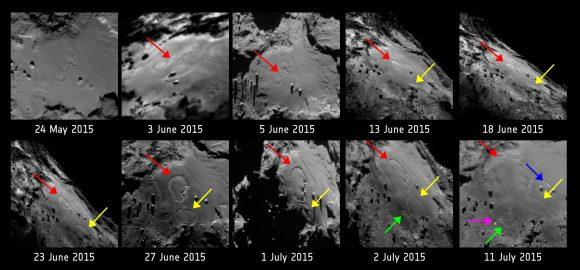 Imágenes de la cámara NAC de OSIRIS tomadas entre el 24 de mayo y el 11 de julio que muestran cambios significativos del terreno a medida que Chury se acercaba al perihelio (ESA/Rosetta/MPS for OSIRIS Team MPS/UPD/LAM/IAA/SSO/INTA/UPM/DASP/IDA).
