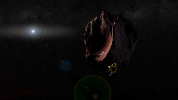 Representación artística del sobrevuelo de por parte de la New Horizons en enero de 2019 (NASA/Johns Hopkins University Applied Physics Laboratory/Southwest Research Institute/Steve Gribben).