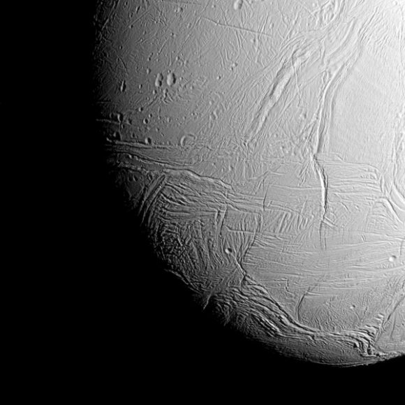 The view was acquired at a distance of approximately 38,000 miles (61,000 kilometers) from Enceladus and at a Sun-Enceladus-spacecraft, or phase, angle of 42 degrees. Image scale is 1,198 feet (365 meters) per pixel.