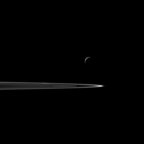The view was acquired at a distance of approximately 106,000 miles (171,000 kilometers) from Enceladus and at a Sun-Enceladus-spacecraft, or phase, angle of 141 degrees. Image scale is 6 miles (10 kilometers) per pixel.