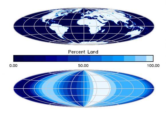 Mapa de la distribución de continentes de la Tierra (abajo) según la observación de la sonda EPOXI. HDST sería capaz de realizar mapas semejantes de exotierras cercanas (NASA).
