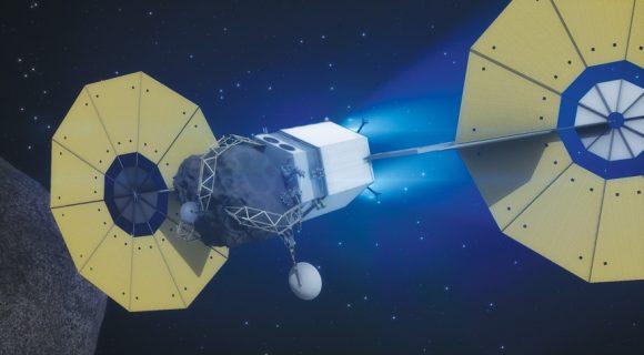 La sonda ARRM con su presa (NASA).