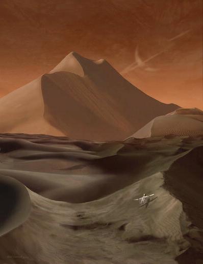 La sonda alada AVIATR sobrevuela un campo de dunas en Titán (Saturno solo se vería en el cielo si tuvieras visión infrarroja)(NASA/Michael Carroll).