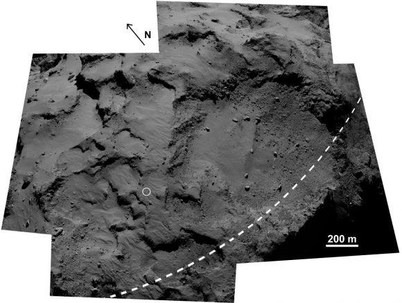 Zona del primer aterrizaje de Philae en la región de Agilkia (ESA/Rosetta/MPS for OSIRIS Team MPS/UPD/LAM/IAA/SSO/INTA/UPM/DASP/IDA).
