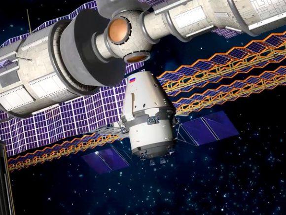 La PTK-NP acoplada a la ISS (Roscosmos).