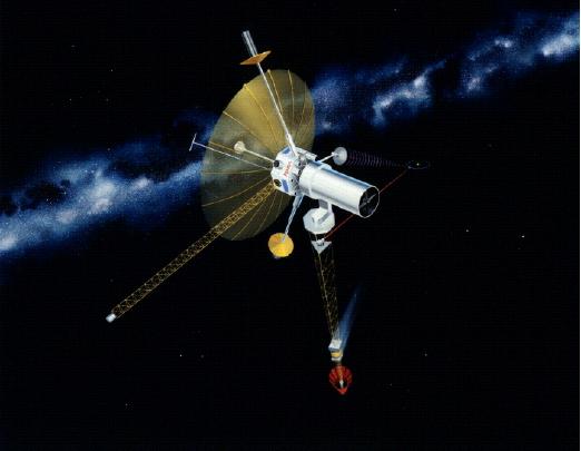 Sonda TAU con el reactor nuclear y el sistema de propulsión iónico. Se aprecia la antena de alta ganancia y el orbitador de Plutón (NASA).