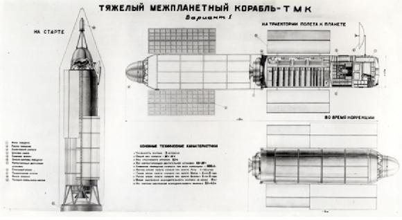 Nave marciana TMK para sobrevuelos de Marte de 1959 (RKK Energía).