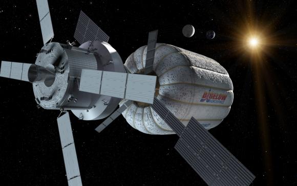 Una nave Orión con un módulo inflable Bigelow como hábitat de espacio profundo (Boeing).