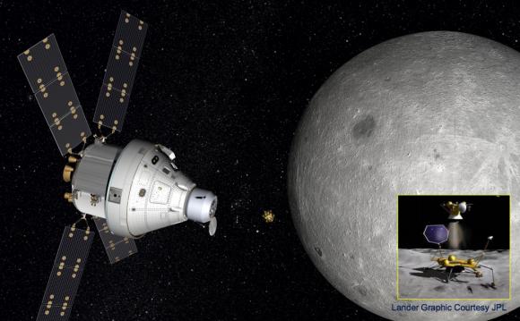 Concepto de misión MoonRise que recogería muestras de la cara oculta de la Luna siendo controlada por telepresencia por los astronautas de la nave Orión (que estaría equipada con una pequeña esclusa) (Boeing).