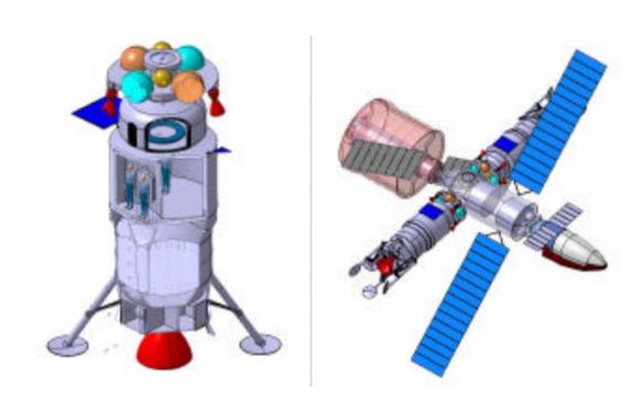 Concepto de módulo lunar europeo (izquierda) y estación espacial lunar europea (ESA).