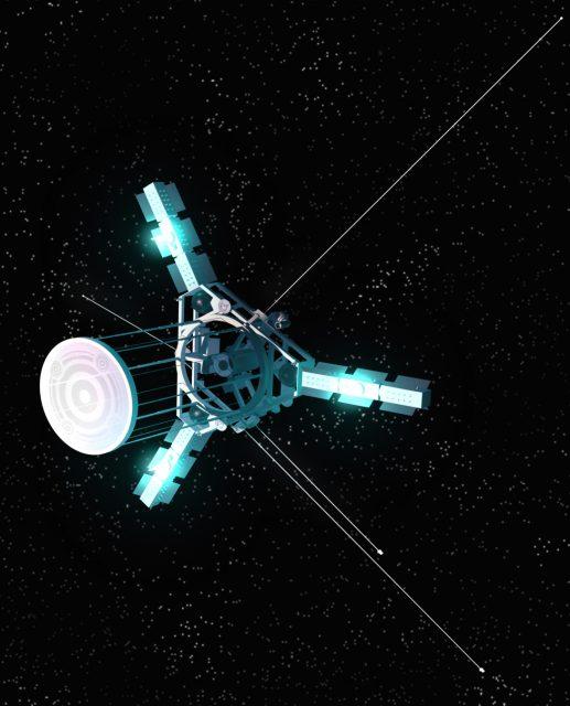 La sonda Interstellar Explorer de la NASA se aleja del Sol gracias a los motores iónicos de xenón, cuya luz azulada le da un aspecto fantasmagórico a la nave (NASA).