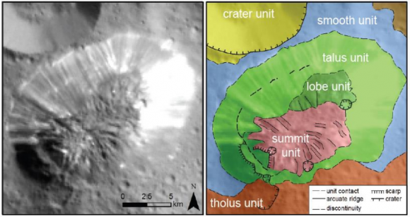 Mapa geológico de Ahuna Mons (Fotografiada coloreada según el relieve de la zona de Ahuna Mons (NASA/JPL-Caltech/UCLA/MPS/DLR/IDA/PSI).