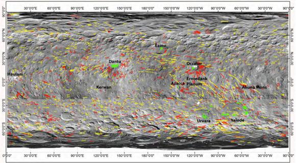 (Fotografiada coloreada según el relieve de la zona de Ahuna Mons (NASA/JPL-Caltech/UCLA/MPS/DLR/IDA/PSI).)