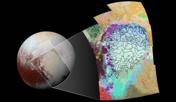 Mapa geomorfológico de Sputnik Planum (NASA/JHUAPL/SwRI).