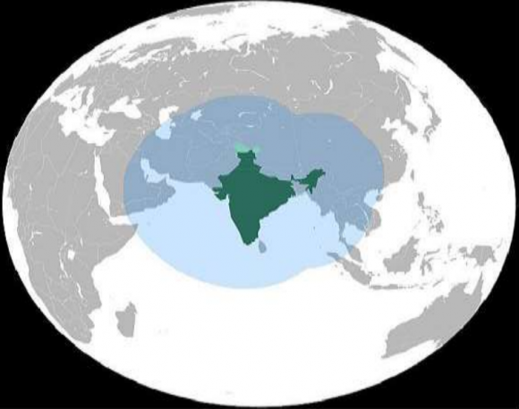 Cobertura del IRNSS (ISRO).